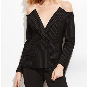 Jackets & Blazers - Off the Shoulder Black Pinstripe Blazer